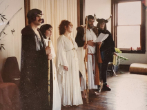 From L to R: Kerr Cuhulain, Kristen Harrison, Stephanie Cluff Henderson, Fritz Muntean, and Betsy Sauther, 1990s.