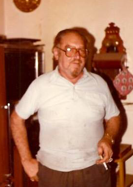 Georgian Wicca founder Pat indoors and smoking a cigarette, circa 1982.